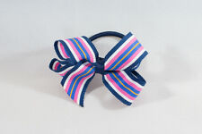 Unit of 10 Medium 3 Inch NavyBlue/White/Pink Stripe Hair Bow elastic Grosgrain
