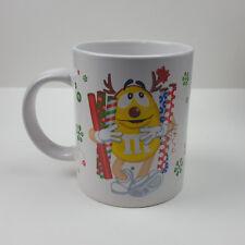 M&M's 2010 Christmas Holiday Coffee Mug Red Yellow Characters Presents Snowflake