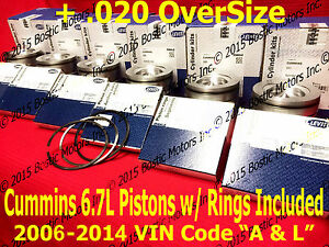 Dodge CUMMINS 6.7 6.7L PISTONS +.020 w/Rings 2006-2014 MAHLE Matched Set