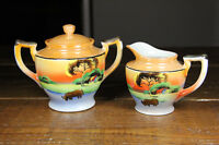 Japanese Sugar and Creamer Set Japan Porcelain Lusterware Takito hand painted