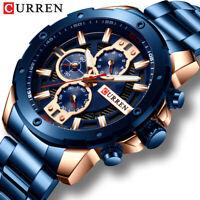 CURREN Luxury WATCH Chronograph MEN Stainless Steel Quartz Wristwatch Calendar