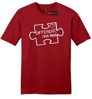Different Not Less Autism Awareness Mens T Shirt Puzzle Autistic Event Tee Z2