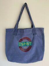 Vintage 90's ESPRIT Blue Canvas Logo Tote Bag Shoulder Book Bag San Francisco