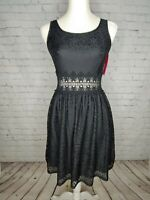 Xhilaration Womens Black Lace Sleeveless Dress Size Small Open Lace at Waist NWT
