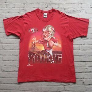 Vintage 90s San Francisco 49ers Steve Young Tshirt Size XL Big Head Pro Player