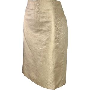 J Crew Gold Silk Pencil Skirt Size 10 Metallic Shimmer Lined EUC