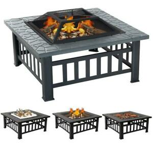 Fire Pit BBQ Firepit Brazier Outdoor Garden Square Table Stove Patio Heater 81cm