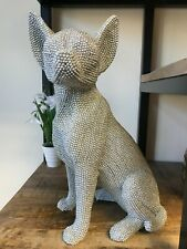 More details for extra large chihuahua silver art sparkle diamante sparkly dog ornament 31cm