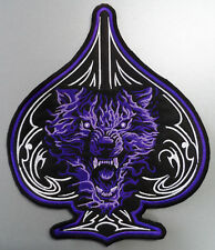 EMBROIDERED BIKER MOTORCYCLE BACK JACKET PATCH - Wolf head in purple flames