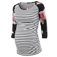 Women Pregnancy Floral Tops Long Sleeve Striped T Shirt Maternity Blouse Clothes