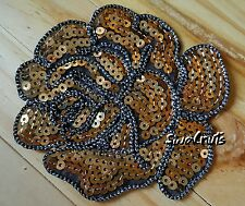 GOLD Iron on Peony Rose Flower Sequin Embroidered Patch Applique Motif Badge