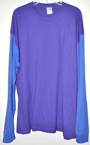 Long Sleeve Tee Soft Knit Color Block Purple & Blue Men's Size 3XL NWOT