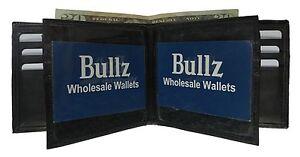 Mens Black Solid Genuine Leather BiFold Wallet ID Credit Card Holder Billfold