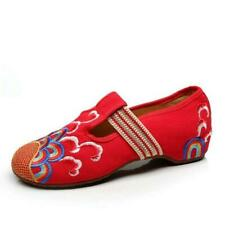 Women Chinese Style Embroidered Flats T-strap Mary Jane new Ballet Shoes Pump
