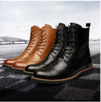 England Men ankle Boots oxford Brogue Wingtip lace up Leather military Shoes H57