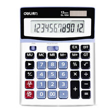 Deli 1654 LCD 12 Digits Desktop Electronic Calculator Solar Batterry Instruments