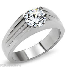 7mm 2.30 Ct 316 Stainless Steel Engagement April Clear Stone Lady Ring Size 6-13