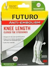 FUTURO Anti-Embolism Knee Length Closed Toe 18mm/Hg L Reg White 1Pair