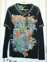 Christian Audigier Long Sleeve Top Mens Shirt Black Dragon Rhinestones Sz M NWT