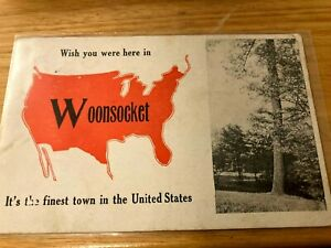 PC RI Wish You Were Here IN WOONSOCKET LARGE LETTERS 1914