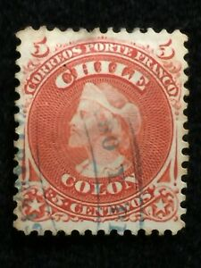 """1867  SCOTTS# 17 CHILE """"RED"""" {COLUMBUS} HR NG SOUND USED STAMP!  VIBRANT COLOR!"""