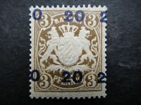 Germany 1920 Stamp MINT ERROR Coat of Arms Overprint Surcharged BAVARIA German S
