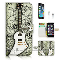 ( For iPhone 7 ) Wallet Case Cover P1347 Guitar