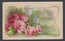 Birthday Greetings Antique Postcard Pink Rose Flowers