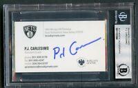 P.J. Carlesimo signed autograph auto Brooklyn Nets Buisness Card BAS Slabbed