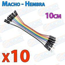 10 cables jumper protoboard de 10cm - Macho/Hembra cable jumpers - Arduino Elect