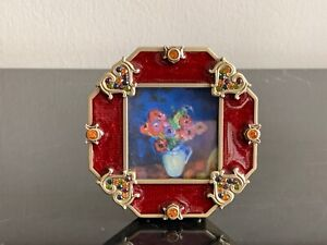 Jay Strongwater Red Enamel Crystals Square Picture Frame