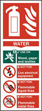 Fire Extinguisher Water Rigid PVC Safety Sign x5