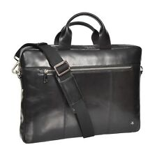 Laptop Briefcase Real Leather Business Bag Organiser Messenger Satchel Black NEW