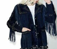 American Style Blue Western Silver Studded Suede Leather Jacket Fringes