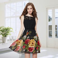 Empire Waist Knee-Length Casual Floral Dresses for Women