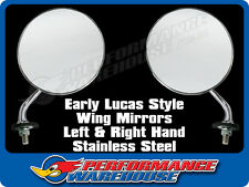 EARLY LUCAS STYLE STAINLESS STEEL WING MIRRORS PAIR