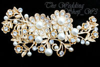 Wedding Bridal Bride Hair Comb Pearl Gold Diamante Crystal Slid Fascinator UK 20