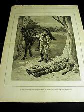 W. Small AUSTRALIAN BUSH Man Dead Lack of Water HORSE WHIP 1888 Large Print