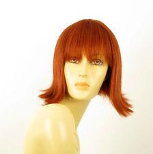 perruque femme 100% cheveux naturel mi-longue cuivré intense ref FRANCOISE 130