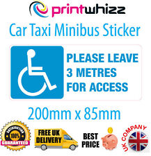 Please Leave 3M Wheelchair Taxi Car Disabled Sticker Printed Vinyl UK Del