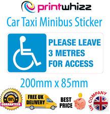 Si prega di lasciare 3 M Sedia a Rotelle Taxi Car Adesivo disabilitato Stampato in Vinile del Regno Unito gratuita