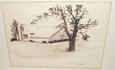 RONALD WRIGHT HOUSE LANDSCAPE ORIGINAL INK DRAWING PAINTING