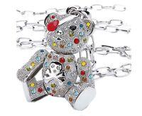 Teddy Anhänger Silber+Halskette mit Swarovski Kristall Mehrfarbig Ketten Reif