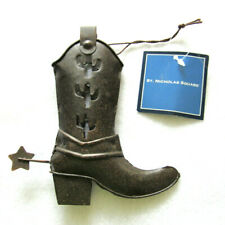 Cowboy Boot Christmas Ornament Western With Spur Metal St. Nicholas Square