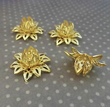 Gold Tone Brass Flower Bead Cap - Pack of 8