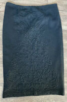 Laura Ashley winter skirt Black patterned midi lined acrylic wool blend UK 14