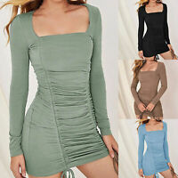 Sexy Long Sleeve Square Neck Drawstring Ruched Mini Bodycon Dress Novelty