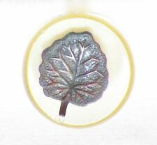4 Art Deco Celluloid Buttons Applejuice Silvertone Metal Leaves Vintage #23