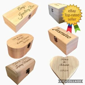 Small Personalised Engraved Wooden Box Trinket Keepsake Wooden Storage Boxes