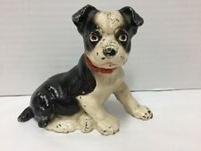 Antique Cast Iron Boston Terrier Dog Doorstop Small Puppy Sitting